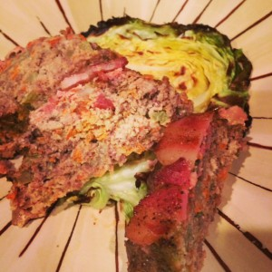 Bacon Covered Meatloaf with Cabbage Steaks
