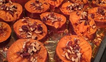 Roasted Sweet Potatoes with Apple Whiskey Glaze and Pecans
